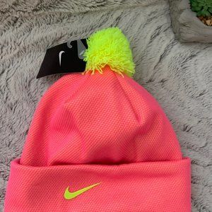 Womens Nike Beanie Pink/Neon Yellow 7/16